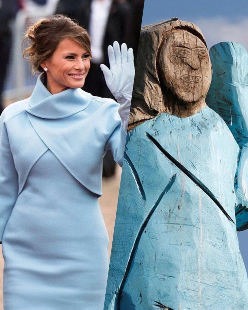 мелания трамп и её деревянный памятник