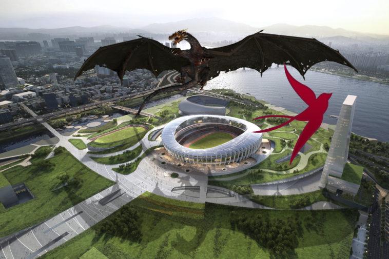 дракон летает над стадионом в южной корее