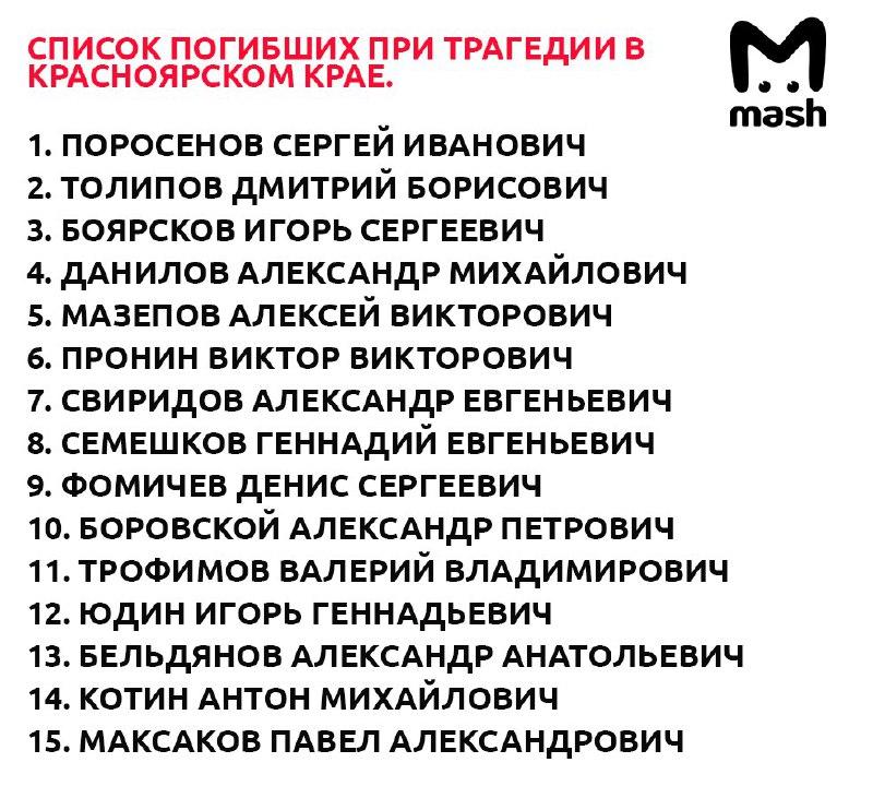 список погибших в наводнении красноярский край